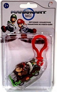 Mario Kart Wii Plastic Clip Keychain Donkey Kong in Roadster