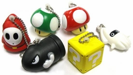 Super Mario Galaxy 2 Set of 6 Mini Foam Figure Keychains [Shyguy, Blooper, Bullet Bill, Super Mushroom, 1-Up Mushroom & Mystery Block]