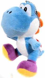 New Super Mario Bros. San-Ei 5 Inch Plush Keychain Yoshi [Light Blue]