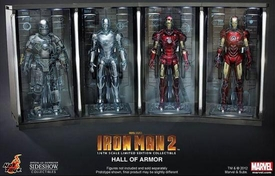 Iron Man Hot Toys Movie 1/6 Scale Collectible Hall of Armor Set of 4 Bays