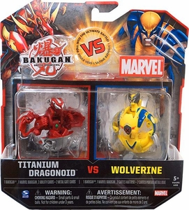 Bakugan vs. Marvel 2-Pack Red Titanium Dragonoid vs Yellow Wolverine