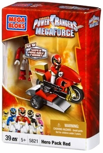 Power Rangers Megaforce Mega Bloks Set #5821 Red Ranger Hero Racer