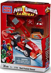 Power Rangers Samurai Mega Bloks Set #5766 Red Pocket Racer