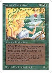 Magic the Gathering Unlimited Edition Single Card Rare Verduran Enchantress Slightly Played Condition