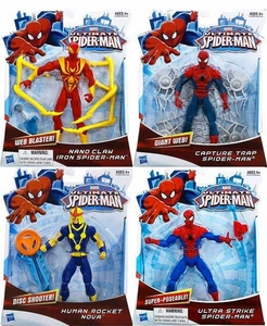 Ultimate Spider-man Ultimate Core 6 Inch Action Set of All 4 [Capture Trap Spider-Man,  Ultra Strike Spider-Man,  Nano Claws Iron Spider-Man & Human Rocket Nova] Pre-Order ships March