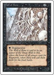 Magic the Gathering Unlimited Edition Single Card Uncommon Wall of Bone Slightly Played Condition