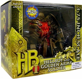 Mezco Toyz 2009 SDCC San Diego Comic-Con Exclusive 3 3/4 Action Figure Set Hellboy & Golden Army Soldier