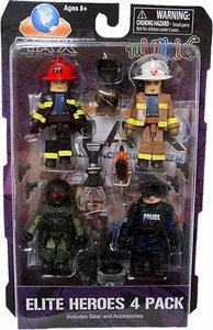 Minimates MAX Mobile Action Extreme Mini Figure 4-Pack Elite Heroes [Fireman, Emergency Worker, Police & Military]