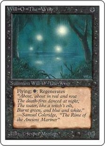 Magic the Gathering Unlimited Edition Single Card Rare Will-o'-the-Wisp Slightly Played Condition