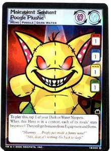 Neopets Trading Card Game Travels in Neopia Holofoil Single Card Malevolent Sentiant Poogle Plushie #18