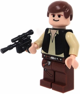 LEGO Star Wars LOOSE Mini Figure Han Solo with BrickArms DL-44 Blaster Pistol  [A New Hope]