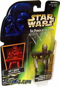 Star Wars POTF2 Power of the Force Hologram Card ASP-7 Droid w/ Spaceport Supply Rods