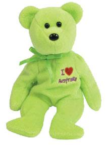Ty Beanie Baby I Love Australia the Bear