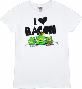 Angry Birds Women's Printed T-Shirt I Heart Bacon BLOWOUT SALE!