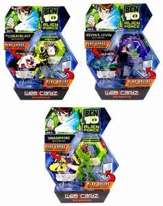 Ben 10 Alien Force Set of 3 Web Cardz Game Starter Sets with Figures