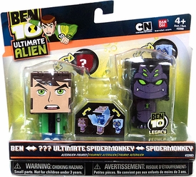 Ben 10 Ultimate Alien AlterAlien 2.5 Inch Transforming Figures Ben to Water Hazard & Spidermonkey to Ultimate Spidermonkey