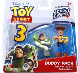 Disney / Pixar Toy Story 3 Action Links Mini Figure Buddy 2-Pack Laser Buzz Lightyear & Walking Woody