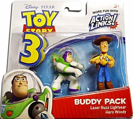 Disney / Pixar Toy Story 3 Action Links Mini Figure Buddy 2-Pack Laser Buzz Lightyear & Hero Woody
