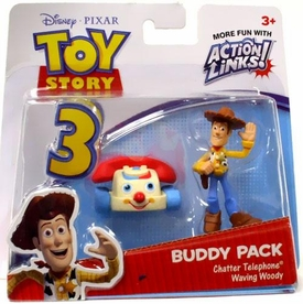 Disney / Pixar Toy Story 3 Action Links Mini Figure Buddy 2-Pack Chatter Telephone & Waving Woody