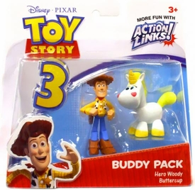 Disney / Pixar Toy Story 3 Action Links Mini Figure Buddy 2-Pack Hero Woody & Buttercup