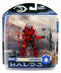 Halo 3 McFarlane Toys Series 3 Action Figure RED Spartan Soldier Hayabusa [Battle Rifle]