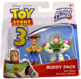 Disney / Pixar Toy Story 3 Action Links Mini Figure Buddy 2-Pack Hero Woody & Hero Buzz Lightyear