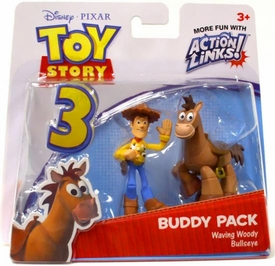 Disney / Pixar Toy Story 3 Action Links Mini Figure Buddy 2-Pack Waving Woody & Bullseye
