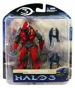 Halo 3 McFarlane Toys Series 3 Exclusive Action Figure RED & SILVER Elite Combat with Dual Plasma Rifles