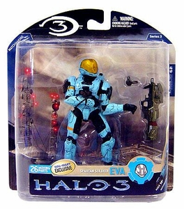 Halo 3 McFarlane Toys Series 3 Exclusive Action Figure CYAN Spartan Soldier EVA BLOWOUT SALE!