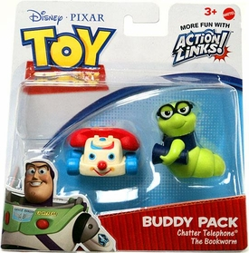 Disney / Pixar Toy Story 3 Exclusive Action Links Mini Figure Buddy 2-Pack Chatter Telephone & The Bookworm