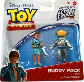 Disney / Pixar Toy Story 3 Exclusive Action Links Mini Figure Buddy 2-Pack Ken & Astronaut Barbie