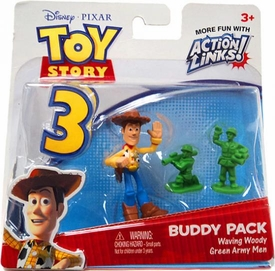 Disney / Pixar Toy Story 3 Action Links Mini Figure Buddy 2-Pack Waving Woody & Green Army Men