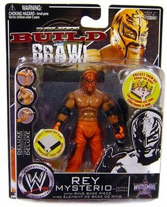 WWE Wrestling Build N' Brawl Wrestlemania 25th Anniversary Mini 4 Inch Figure Rey Mysterio [Orange]