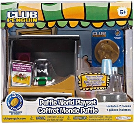 Disney Club Penguin Puffle World Playset Skate Park with Black Puffle 1 Inch Mini Figure [Includes Coin with Code!]