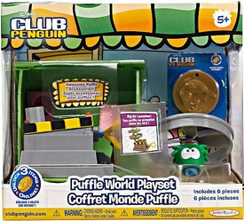 Disney Club Penguin Puffle World Playset Big Air Launcher with Green Puffle 1 Inch Mini Figure [Includes Coin with Code!]