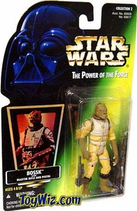 Star Wars POTF2 Power of the Force Hologram Card Bossk w/ Blaster Rifle and Pistol
