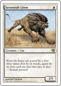 Magic the Gathering Ninth Edition Single Card Rare #41 Savannah Lions Played Condition