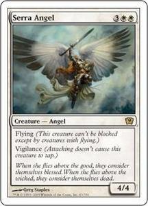 Magic the Gathering Ninth Edition Single Card Rare #43 Serra Angel Slightly Played Condition