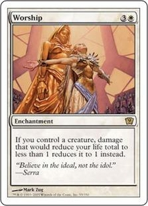 Magic the Gathering Ninth Edition Single Card Rare #55 Worship