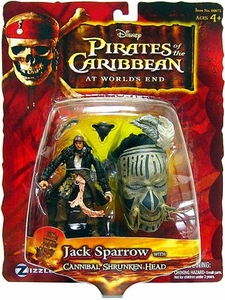Disney Pirates of the Caribbean At Worlds End Zizzle 3 3/4 Inch Exclusive Action Figure Cannibal Jack Sparrow with Shrunken Head