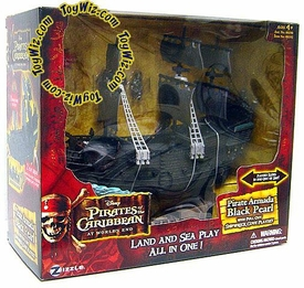 Zizzle Pirates of the Caribbean At World's End Micro Ship Pirate Armada Black Pearl with Shipwreck Cove Playset