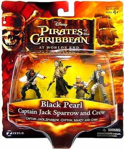 Disney Pirates of the Caribbean At Worlds End Zizzle PVC Figure Set Black Pearl [Sparrow, Cotton, Marty & Gibbs]