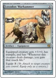 Magic the Gathering Ninth Edition Single Card Rare #303 Loxodon Warhammer Foil!