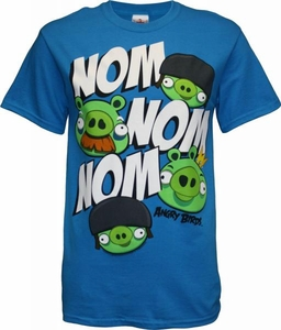 Angry Birds Adult Printed T-Shirt Nom Nom [Blue]