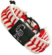 Colorado Rockies Official Major League Baseball GameWear Leather Seam Bracelet