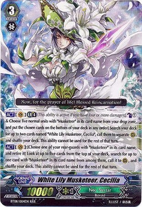 Cardfight Vanguard ENGLISH Blue Storm Armada Single Card SP Rare BT08-S04 White Lily Musketeer, Cecilia