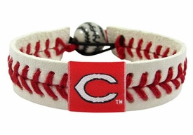 Cincinnati Reds Official Major League Baseball GameWear Leather Seam Bracelet