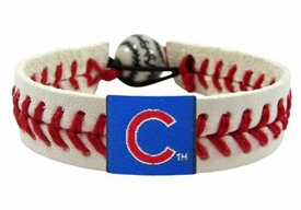 Chicago Cubs Official Major League Baseball GameWear Leather Seam Bracelet