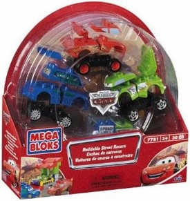 Disney Pixar Cars Movie Mega Bloks Set #7781 Buildable Street Racers