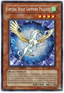 YuGiOh 2007 Tin Promo Card Secret Rare Single Card CT04-EN002 Crystal Beast Sapphire Pegasus